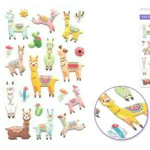 20 3D Puffy Llama Stickers (1 sheet)